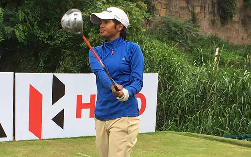 Sneha Singh teeing off on first tee