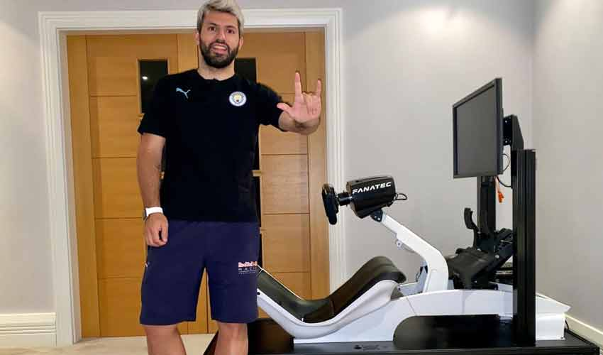 Manchester City striker Aguero laces up his boots for virtual F1 race
