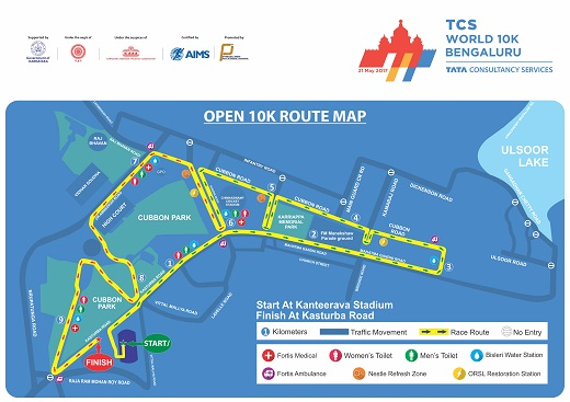 Open 10K 2017 Route Map