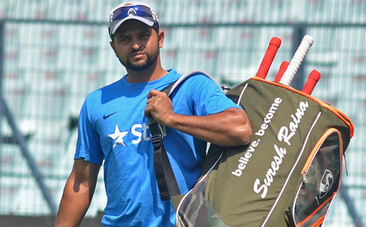Indian cricketer Suresh Raina during a practice session at Eden Gardens