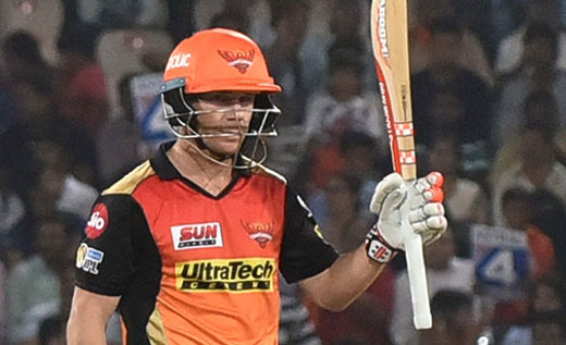 David Warner of Sunrisers Hyderabad celebrates his half century during an IPL 2017 match 2