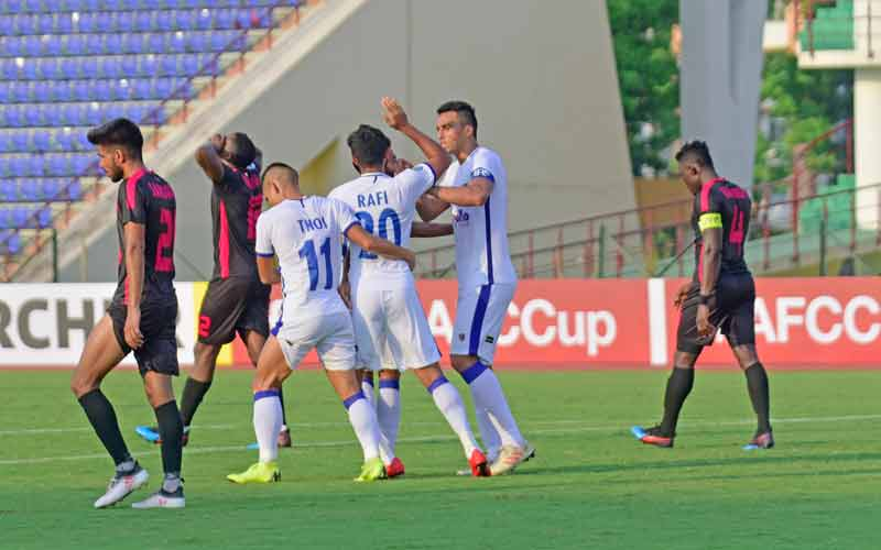 Chennaiyin FCs Mohammed Rafi celebrates his goal with Mailson Alves and Thoi Singh vs Minerva Punjab in the 2019 AFC Cup at Guwahati