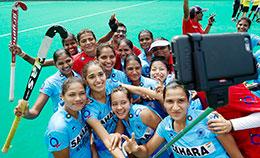 India Women Team celebrates at the FINTRO Hockey World League Semi Final 2015 in Antwerp Belgium 1