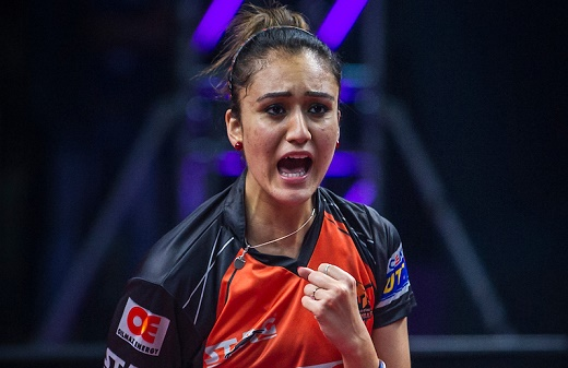 Manika Batra of Oilmax Stag Yoddhas during the Tie 5 match of the CEAT Ultimate Table Tennis